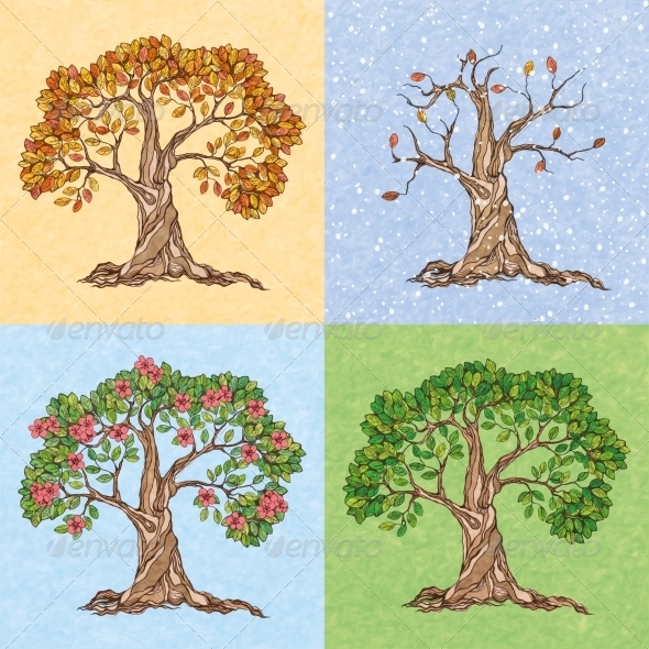GraphicRiver Four Seasons Tree 7514234