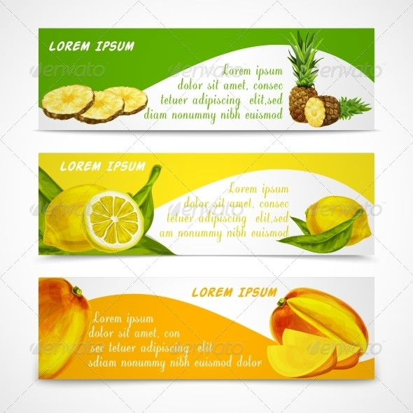 GraphicRiver Tropical Fruits Banner Set 7514244