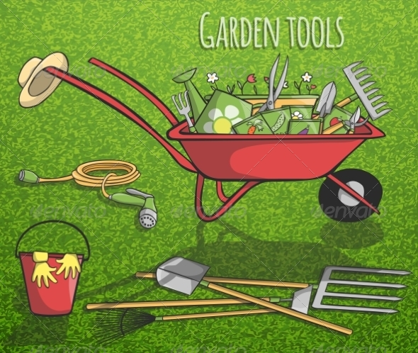 GraphicRiver Garden Tools Concept Poster 7514253