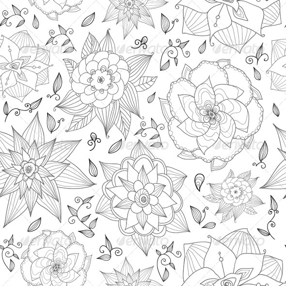 GraphicRiver Seamless Floral Pattern on White Background 7506185