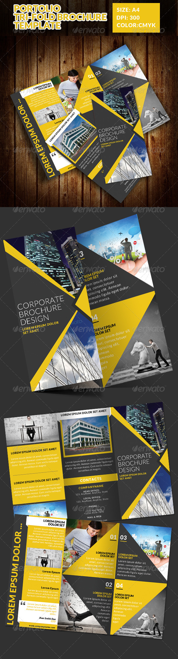 GraphicRiver Portolio Corporate Tri-Fold Brochure Template 7514263