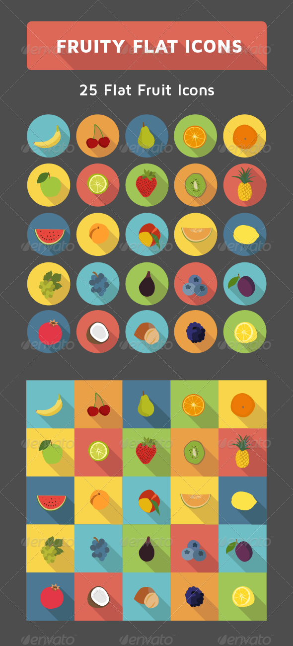 GraphicRiver Flat Fruit Icon Set 7514285