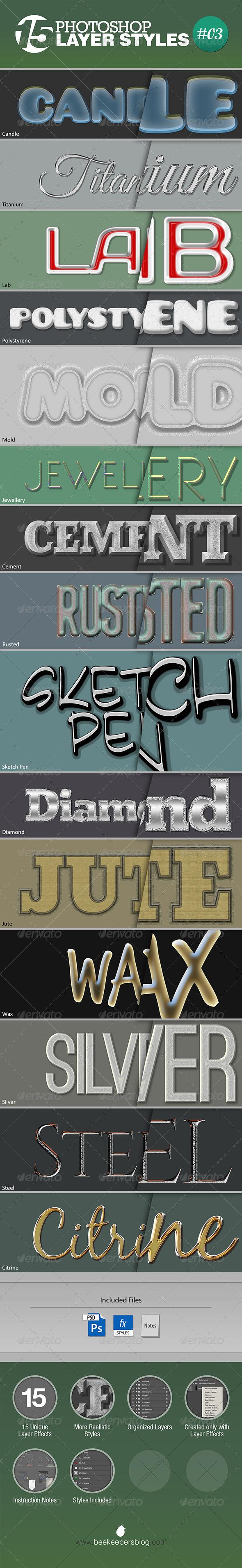 GraphicRiver 15 Unique Photoshop Layer Styles #03 7513729