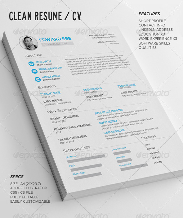 GraphicRiver Clean Resume CV 7514138