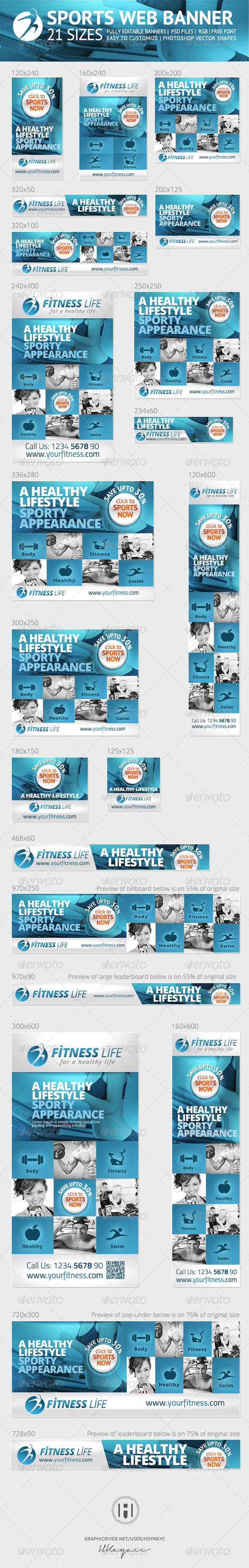 GraphicRiver Sports and Fitness Web Banners Ads 7514351