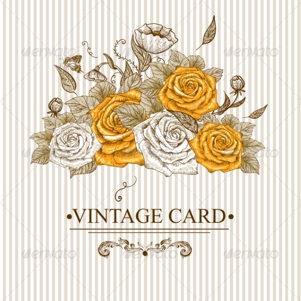 GraphicRiver Vintage Floral Card with Roses and Butterflies 7514502