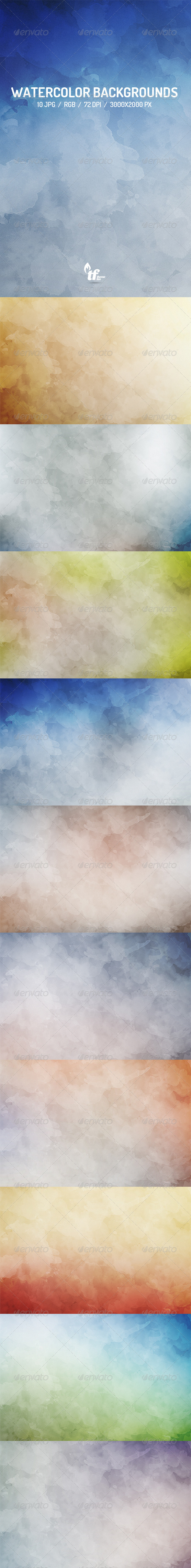 GraphicRiver 10 Watercolor Backgrounds Vol.3 7515948