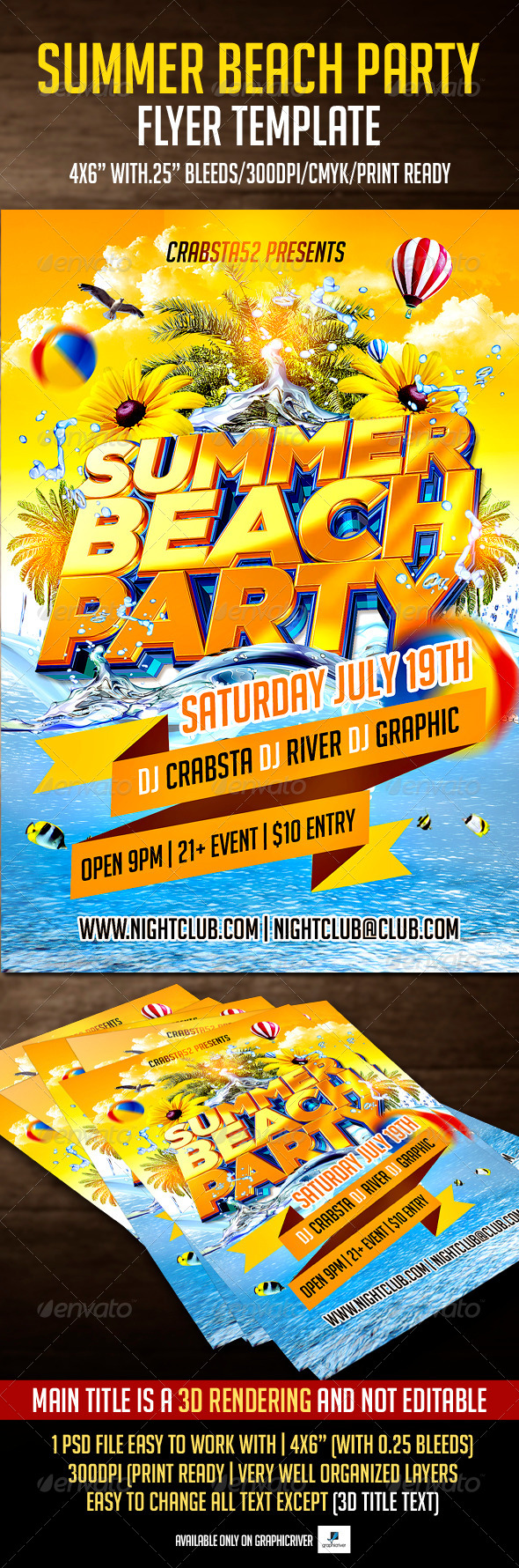 GraphicRiver Summer Beach Party Flyer Template 7516599