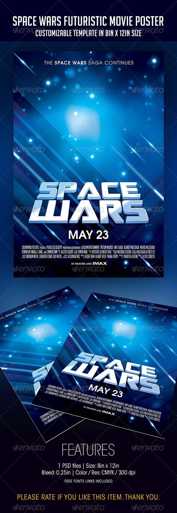 GraphicRiver Space Wars Futuristic Movie Poster 7516639
