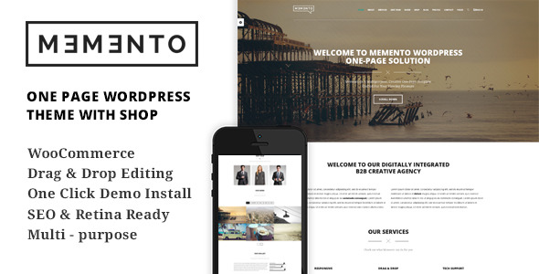 Memento One Page WordPress Theme With WooCommerce