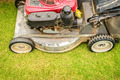 Cutting green grass in yard with lawnmower. - PhotoDune Item for Sale