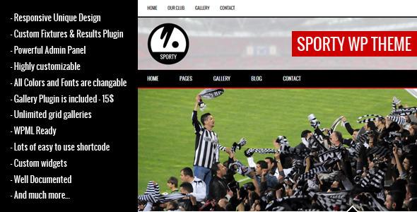 ThemeForest SPORTY-Responsive Wordpress Theme for Sport Clubs 7517792