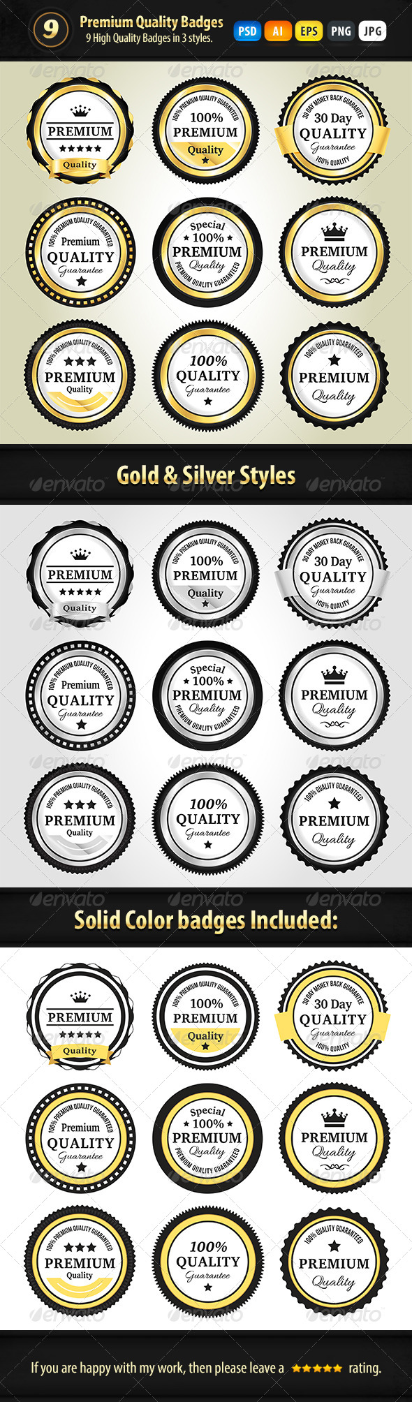 GraphicRiver Premium Quality Badges In 3 Styles 7517879