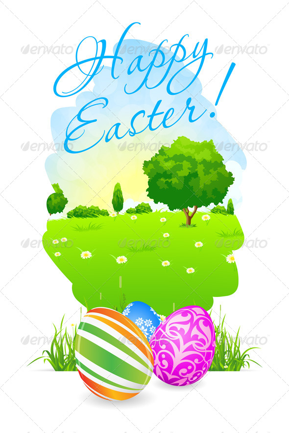 GraphicRiver Easter Card with Landscape and Decorated Eggs 7518247