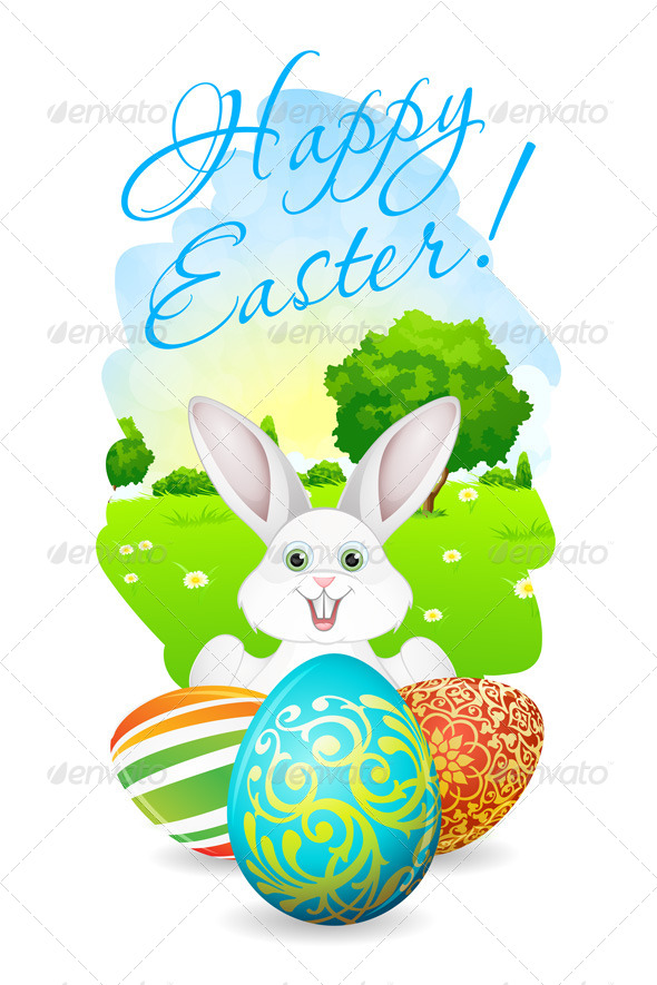 GraphicRiver Easter Card with Landscape and Decorated Egg 7518251