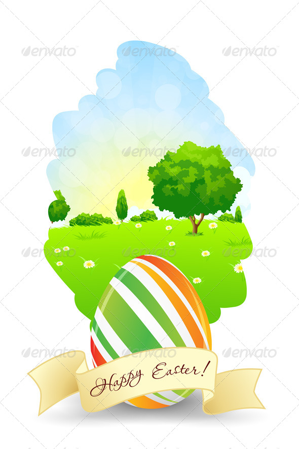 GraphicRiver Easter Card with Landscape and Decorated Egg 7518254