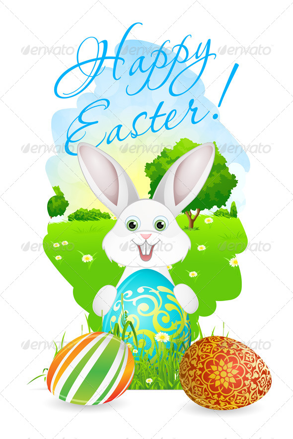 GraphicRiver Easter Card with Landscape Rabbit and Eggs 7518258