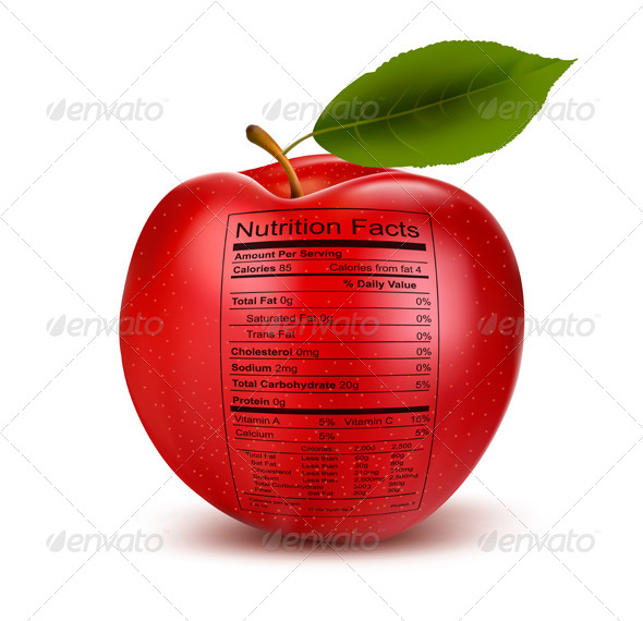 GraphicRiver Apple with Nutrition Facts Label 7518435