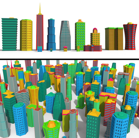 Cartoon Building Pack - 3DOcean Item for Sale