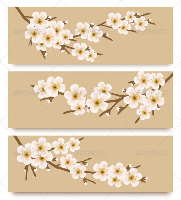 GraphicRiver Three Flower Branch Banners 7518441