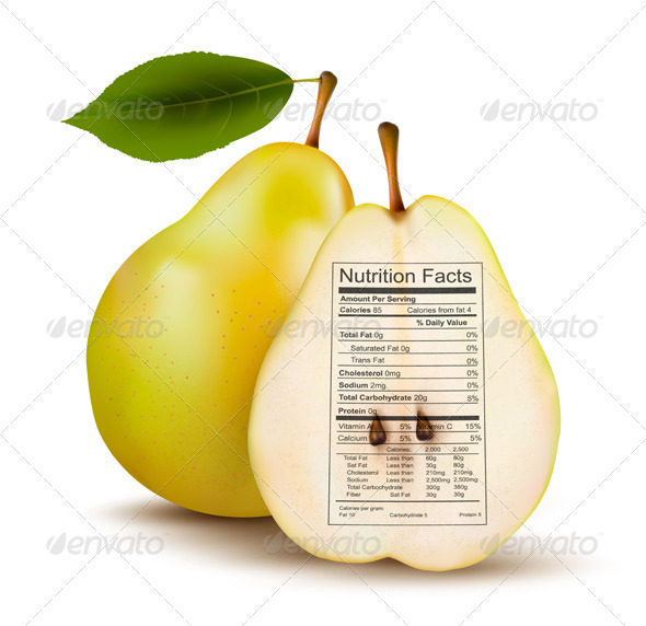 Pear with Nutrition Facts Label