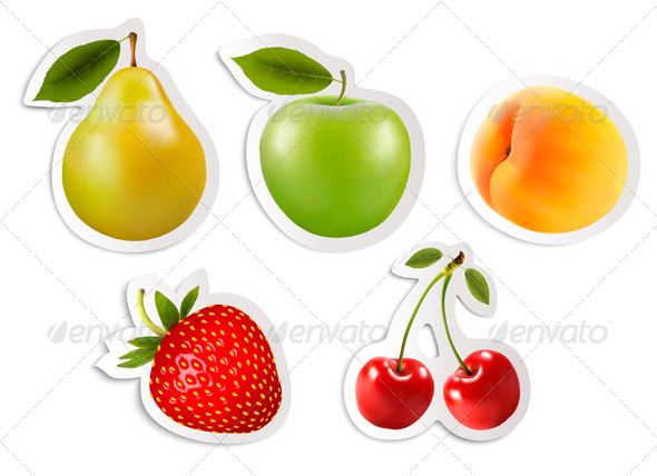 GraphicRiver Five Fruit Stickers 7518456