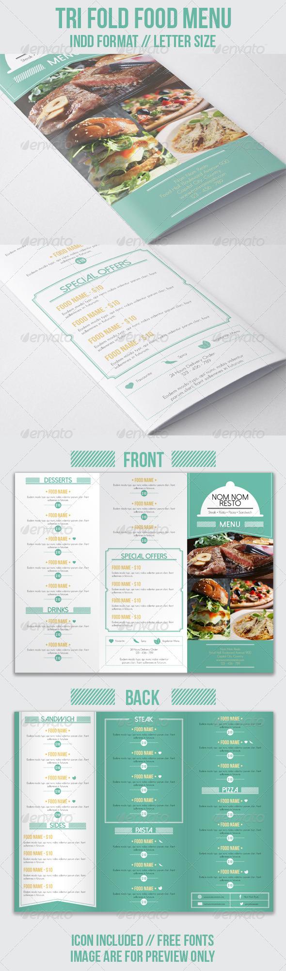 GraphicRiver Tri Fold Food Menu 7518615