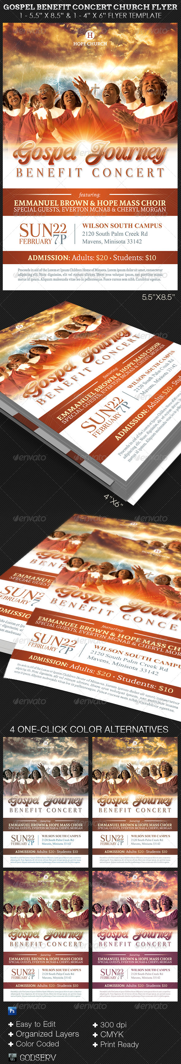 Gospel Benefit Concert Church Flyer Template  - Church Flyers