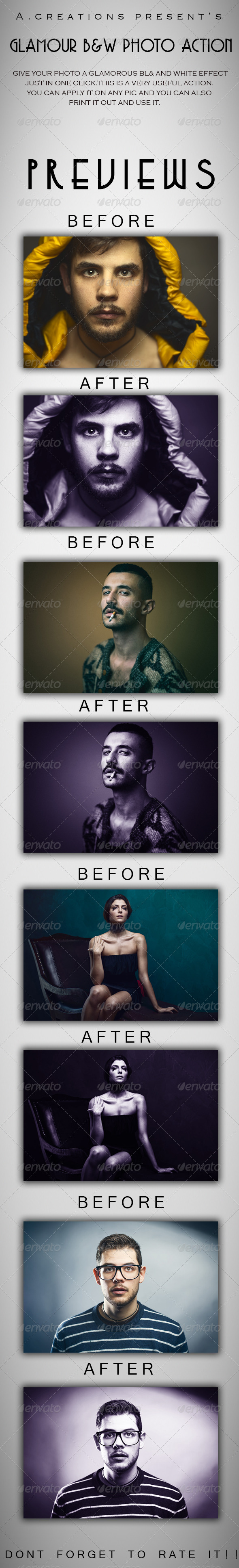 GraphicRiver Glamour B&W Photo Action 7519414