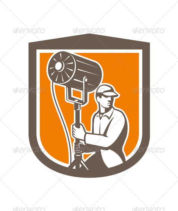 GraphicRiver Electrical Lighting Technician With Spotlight 7519447