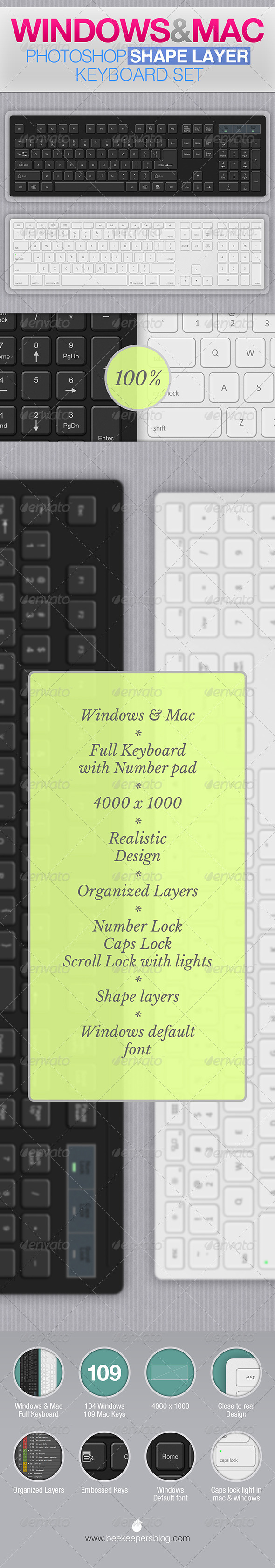 GraphicRiver Windows and Mac Photoshop Keyboard Set 7517222
