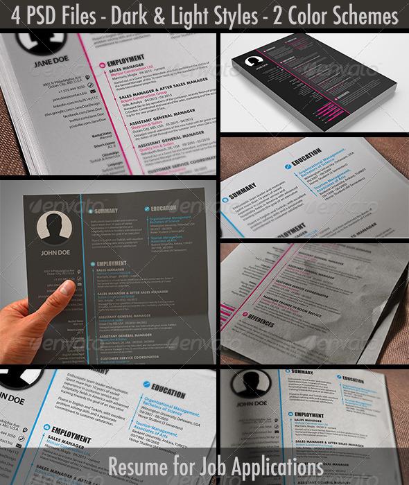GraphicRiver Light & Dark Pink & Blue Resume CV 7502198