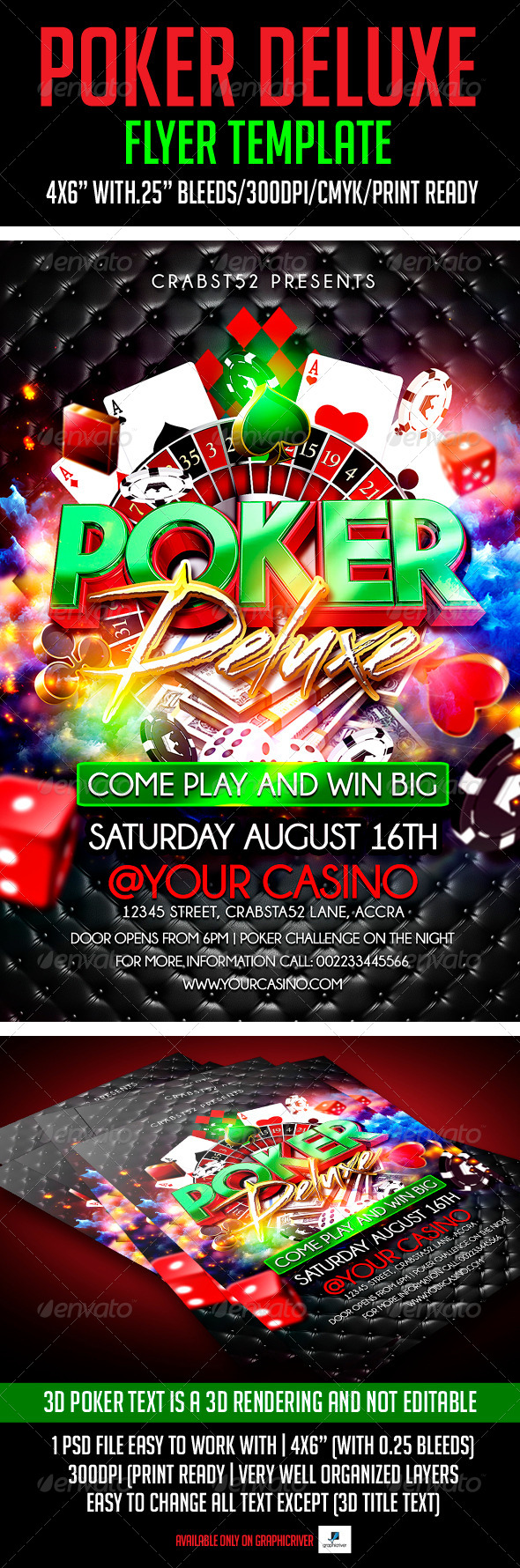 GraphicRiver Poker Deluxe Flyer Template 7519960