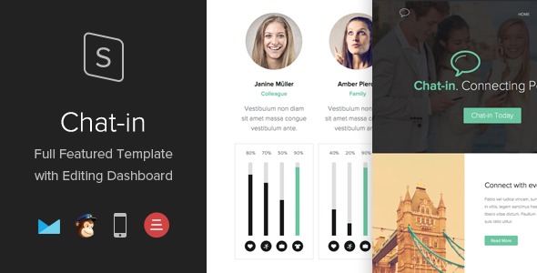 ThemeForest Chat-in Responsive Template with Editing Dashboard 7488346