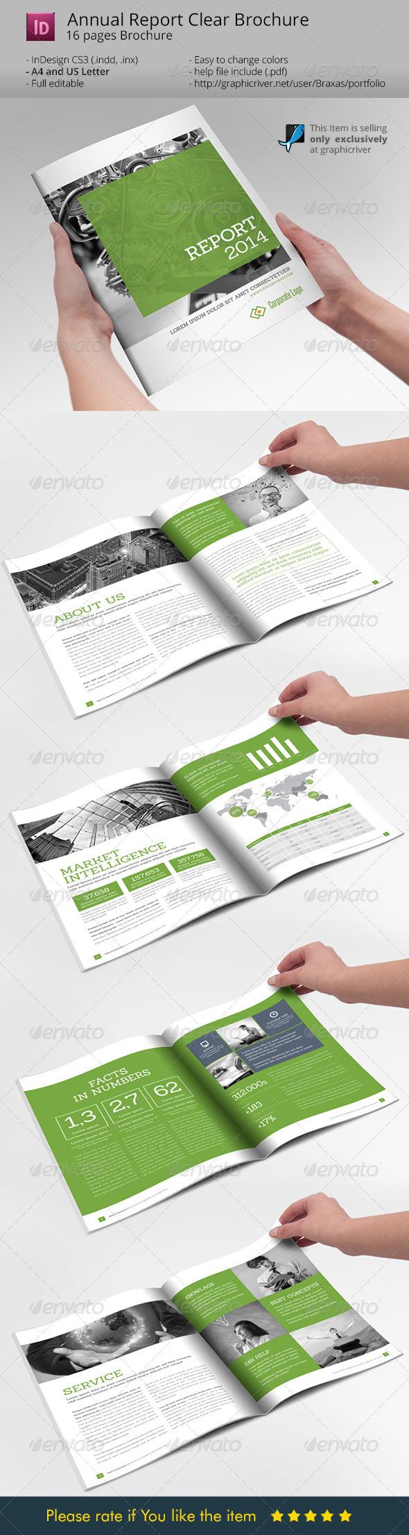 annual report clean indesign brochure graphicriver. Black Bedroom Furniture Sets. Home Design Ideas
