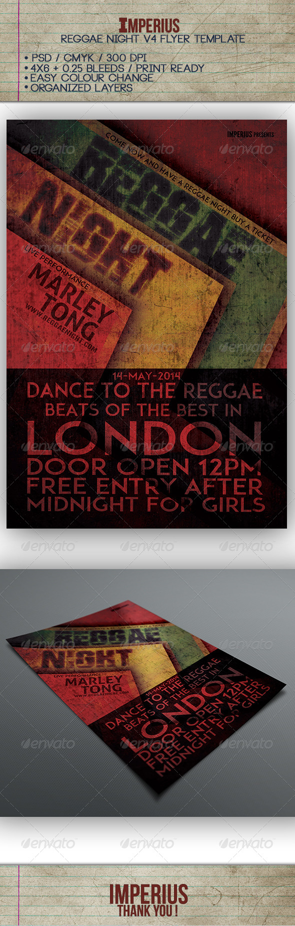 Reggae Night V4 - Flyers Print Templates