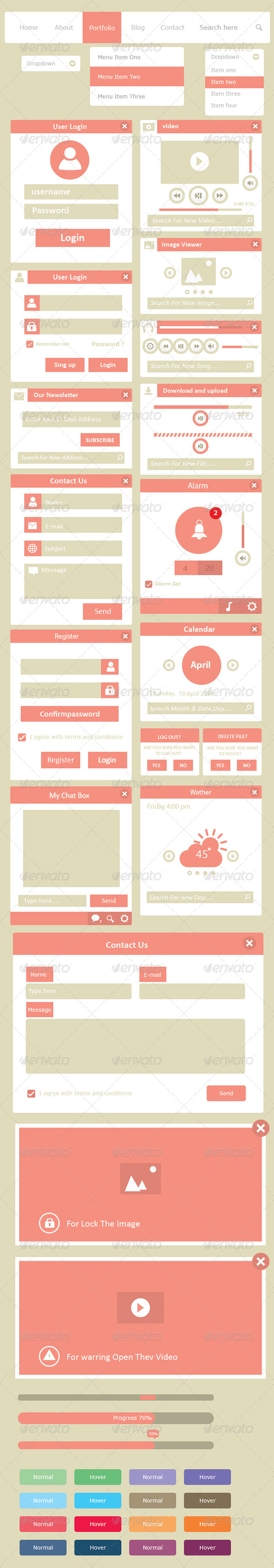 GraphicRiver Simple Vector UI Web Elements 7520677