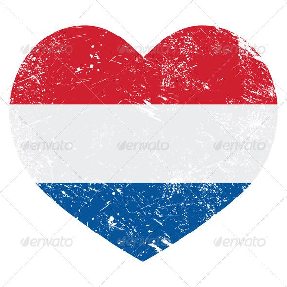 Netherlands, Holland Heart Retro Flag
