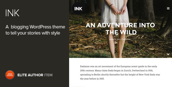 Ink is a finely crafted WordPress blogging theme, based on the latest narrative trend with sites like Exposure and Medium. With an emphasis on telling stories