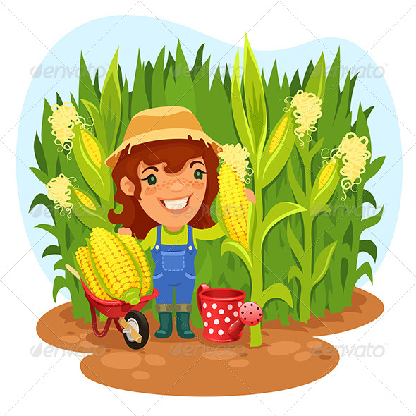 GraphicRiver Harvesting Female Farmer in a Cornfield 7520618