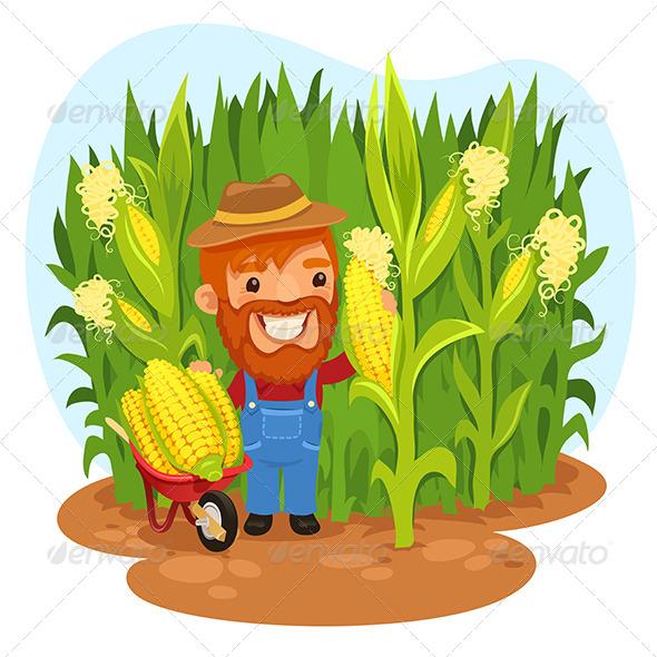 GraphicRiver Harvesting Farmer in a Cornfield 7520627
