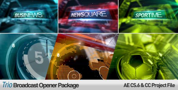 AE模板:三维新闻广播设计 经济频道 天气预报 栏目包装模板Trio Broadcast Openers Package