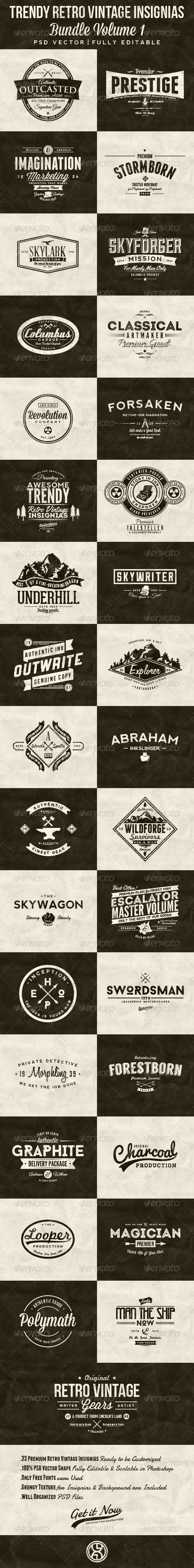 GraphicRiver 33 Trendy Retro Vintage Insignias Bundle Volume 1 7522214