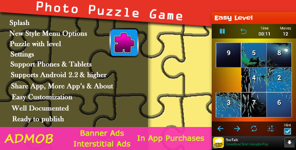 CodeCanyon Photo Puzzle Game with AdMob 7522232