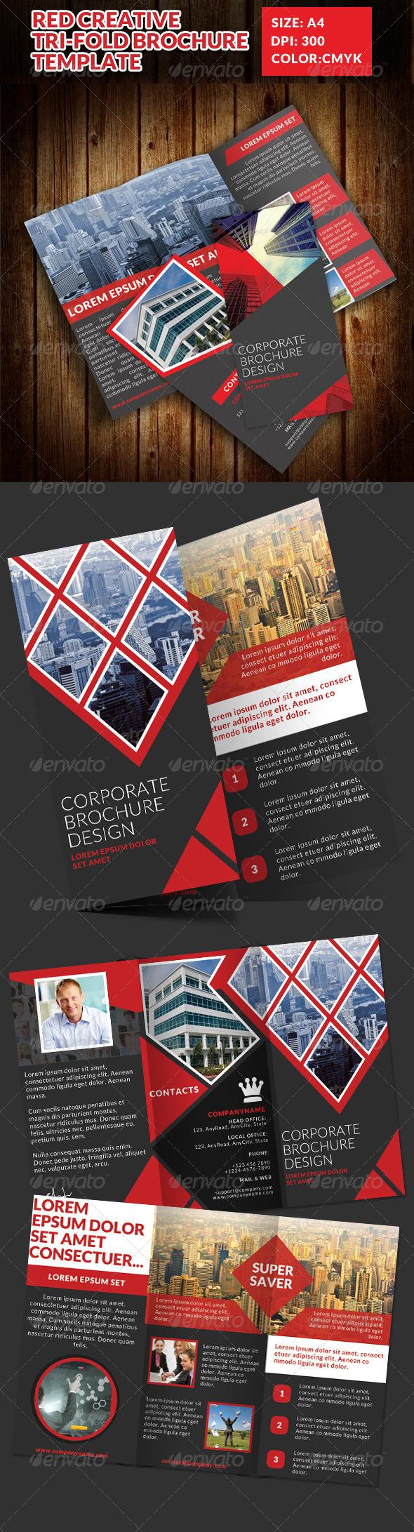 GraphicRiver Red Creative Tri-Fold Brochure Templa 7522335