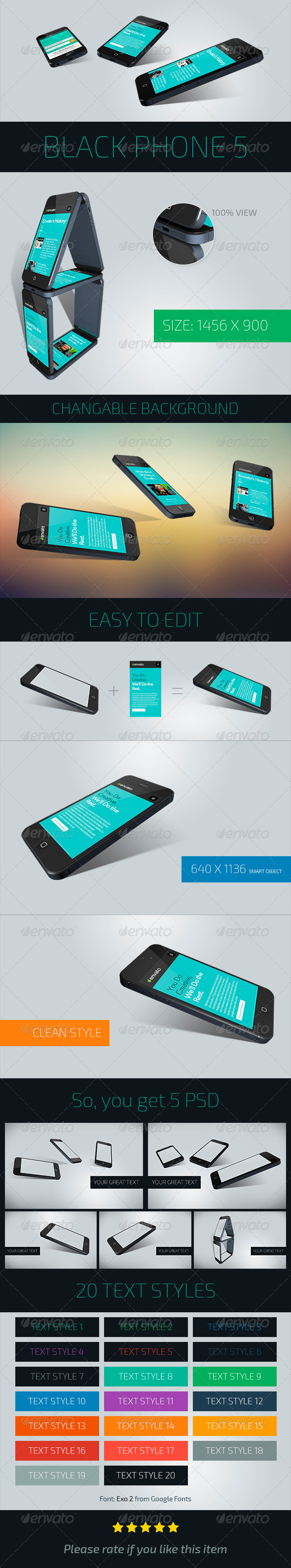 GraphicRiver Black Phone 5 Perspective View Mockup 5 PSD 7521774