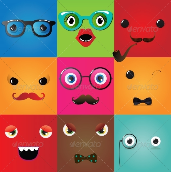 GraphicRiver Set of Hipster Monster Eyes 7522422
