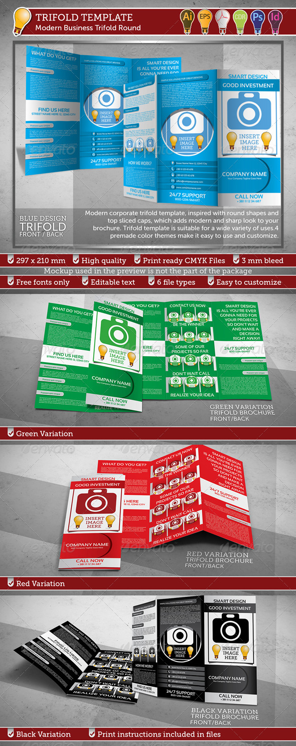 Modern Business Trifold Round Template - Corporate Brochures