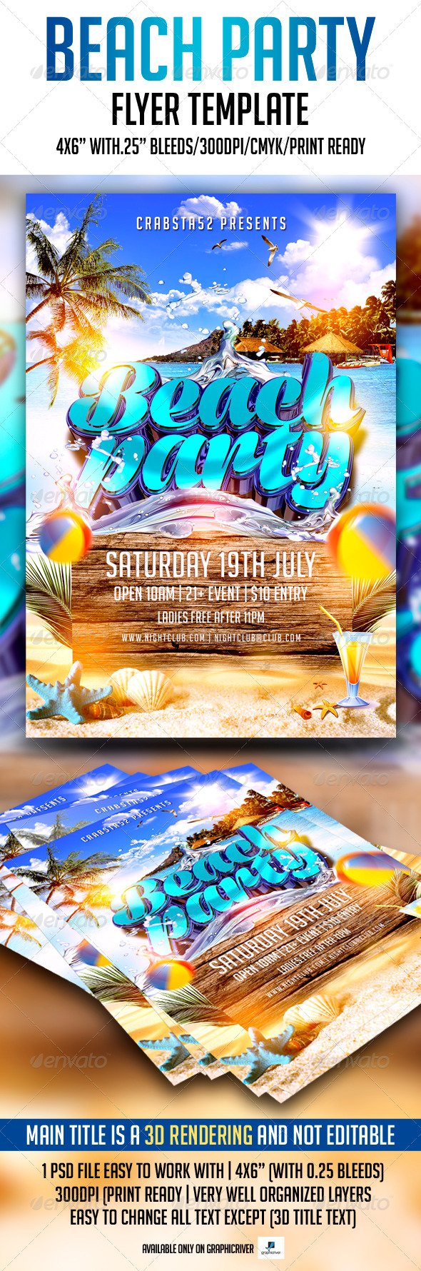 GraphicRiver Beach Party Flyer Template 7522554