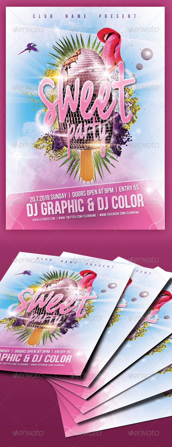GraphicRiver Sweet Party Flyer Poster 7522622